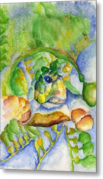 Sea Turtle Hideaway Metal Print