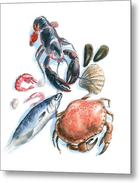Seafood Watercolor Metal Print by Axllll