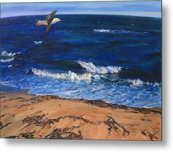 Seagull Flying Along The Surf Metal Print