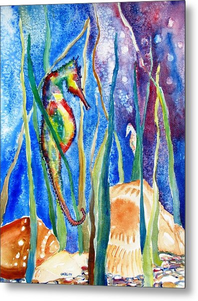 Seahorse And Shells Metal Print