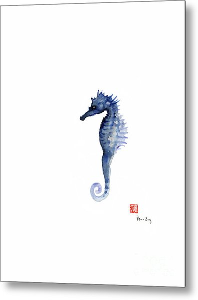 Seahorse Sea Horse Blue Fish Water Colors Collection Fishes Watercolor Painting Metal Print
