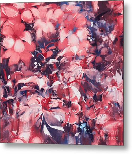 Seamless Abstract Flowers,oil Painting Metal Print by Tithi Luadthong