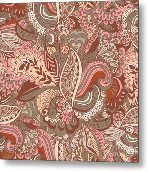 Seamless Abstract Hand-drawn Floral Metal Print