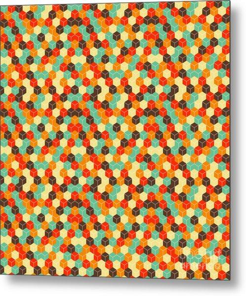Seamless Hexagonal - Cube, Cubic Metal Print by Ravennka