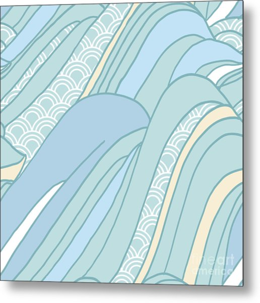 Seamless Japanese Pattern In Pastel Metal Print by Hasselnott