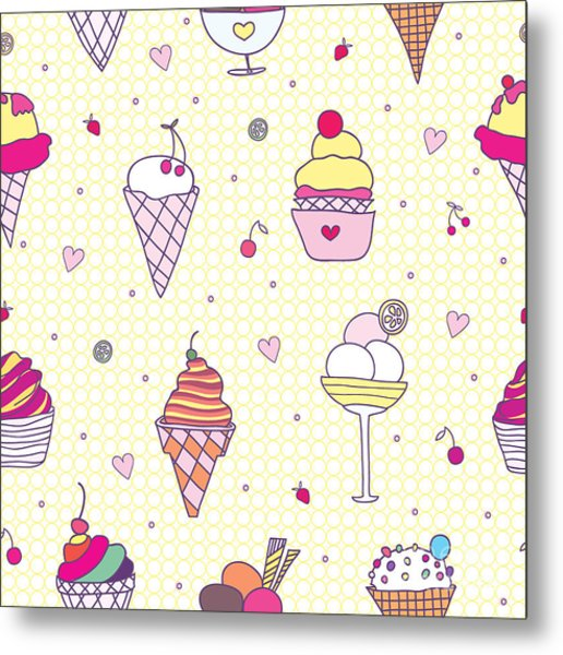 Seamless Pattern Delicious Ice Cream Metal Print