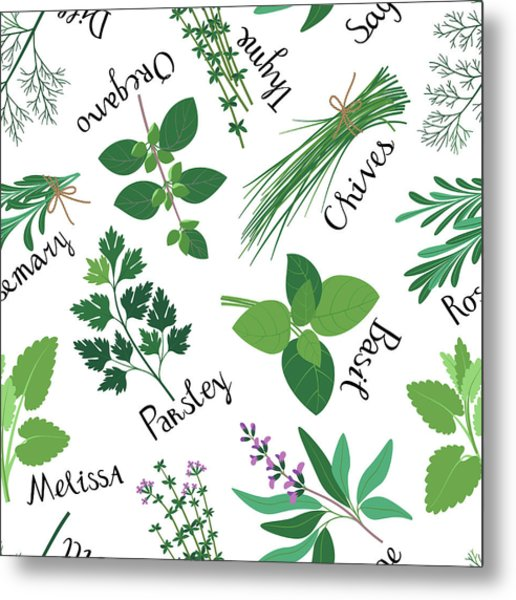 Seamless Pattern Fresh Herbs Metal Print by Innabodrova
