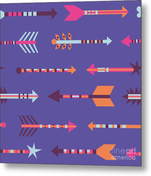 Seamless Pattern In Boho Style With Metal Print
