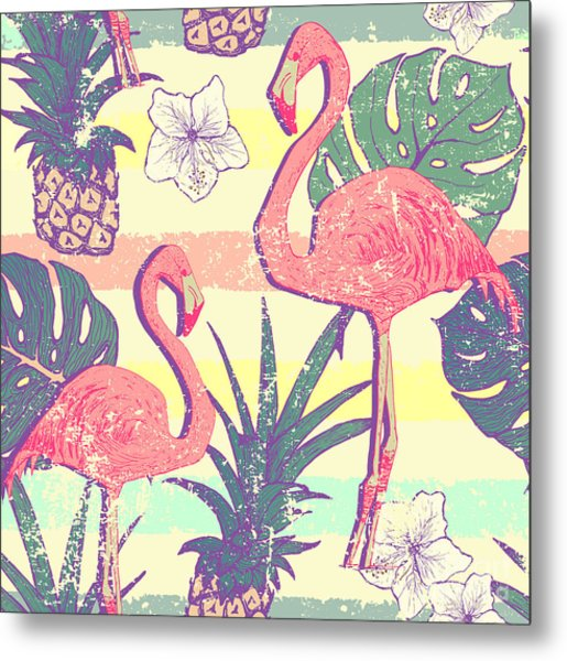 Seamless Pattern With Flamingo Birds Metal Print