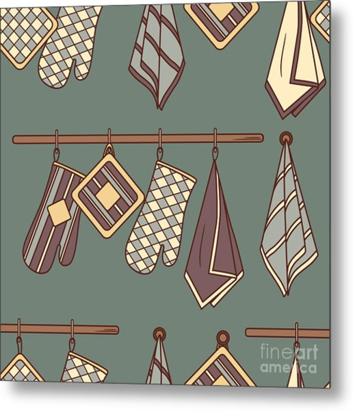 Seamless Pattern With Kitchen Textiles Metal Print by Talirina