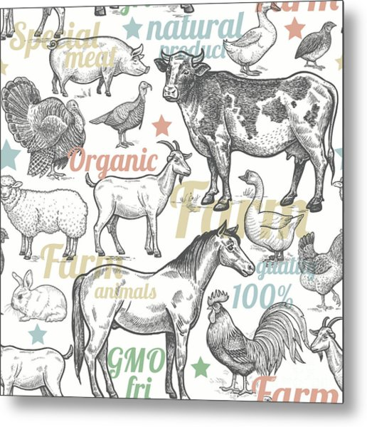 Seamless Pattern With Livestock Metal Print