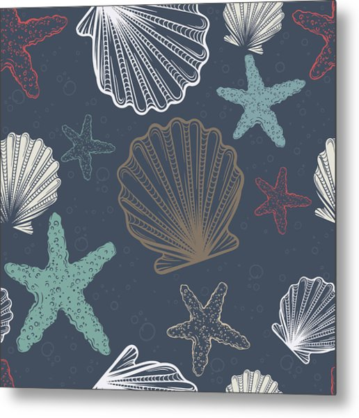 Seamless Pattern With Shells And Metal Print