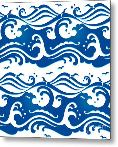 Seamless Stormy Ocean Waves Pattern Metal Print