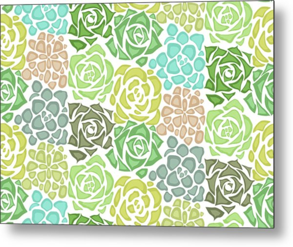 Seamless Texture With Flat Succulents Metal Print