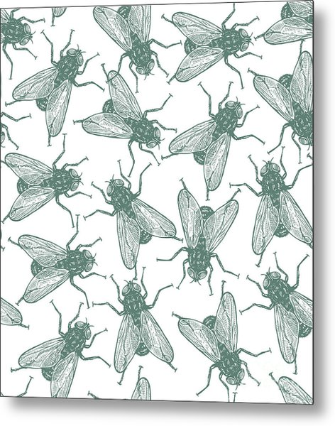 Seamless Vector Flies Pattern In Metal Print