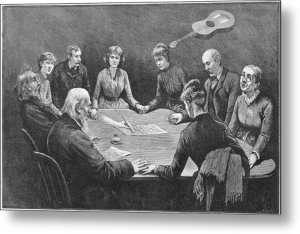Seance At New York With An  Unnamed Metal Print by Mary Evans Picture Library