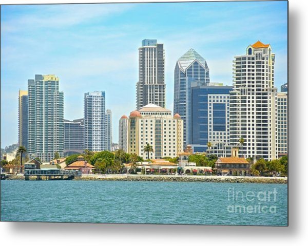 Seaport Village And Downtown San Diego Buildings Metal Print