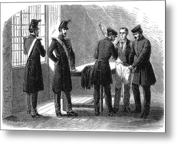 Searching A Suspect At A Prefeture Metal Print by Mary Evans Picture Library