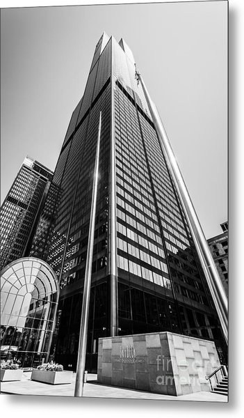Sears Willis Tower Chicago Black And White Picture Metal Print by Paul Velgos