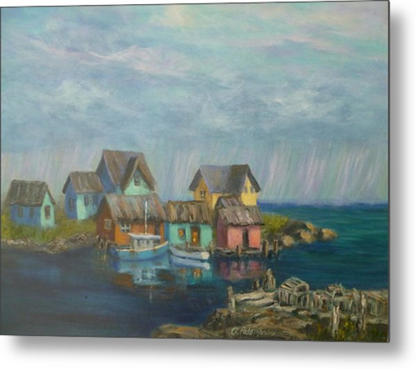 Seascape Boat Paintings Metal Print