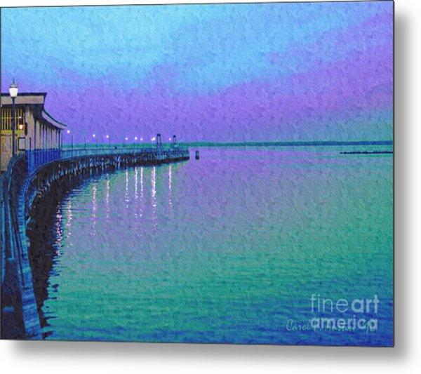 Painterly Seascape Purple Flurry Metal Print