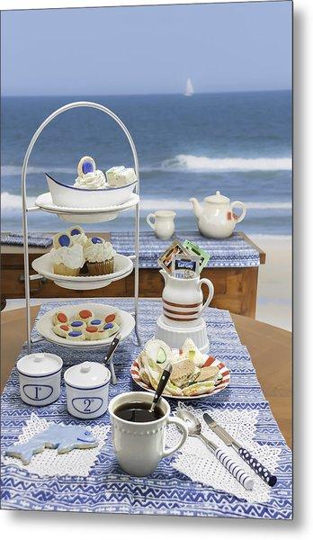Seaside Tea Party Metal Print