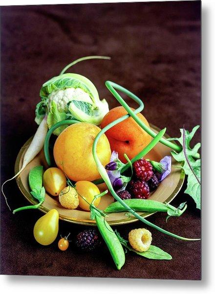 Seasonal Fruit And Vegetables Metal Print