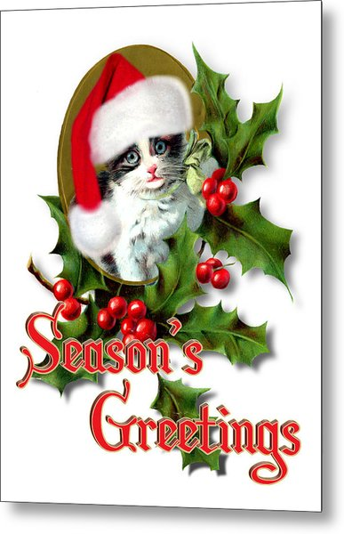 Seasons Greetings - Kitten Metal Print