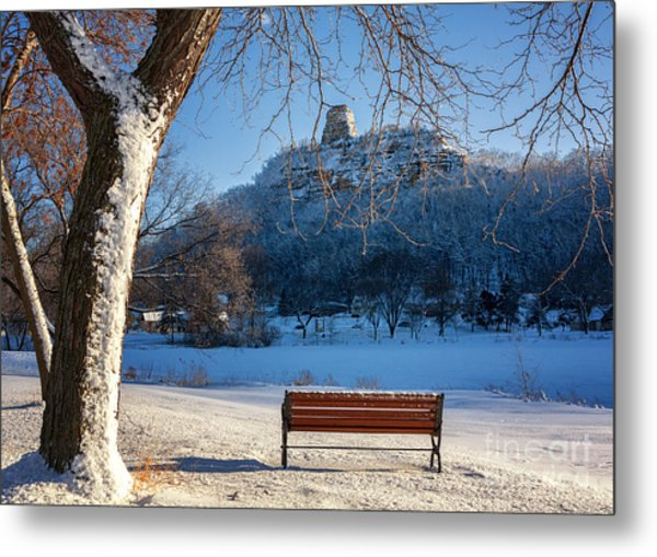 Metal Print featuring the photograph Seat With A View In Winter by Kari Yearous