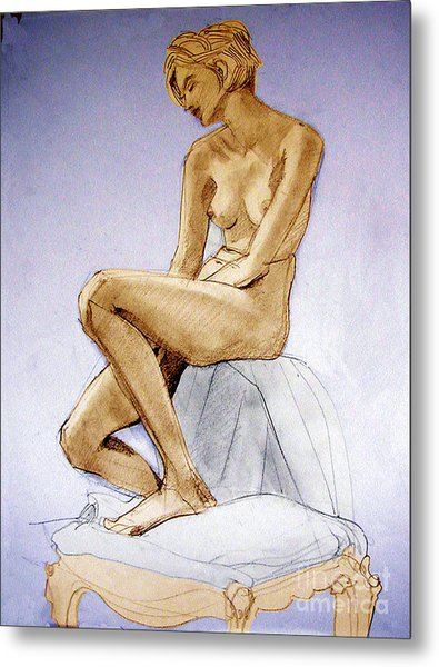 Tinted Figure Drawing Of A Seated Female Nude Dreaming Metal Print