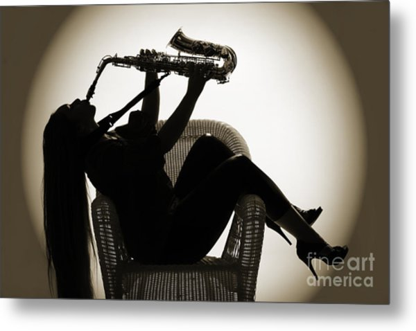 Seated Saxophone Playere Metal Print