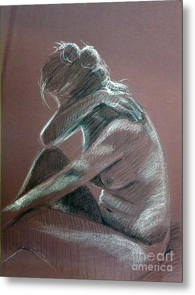 Seated Woman Side Light Metal Print