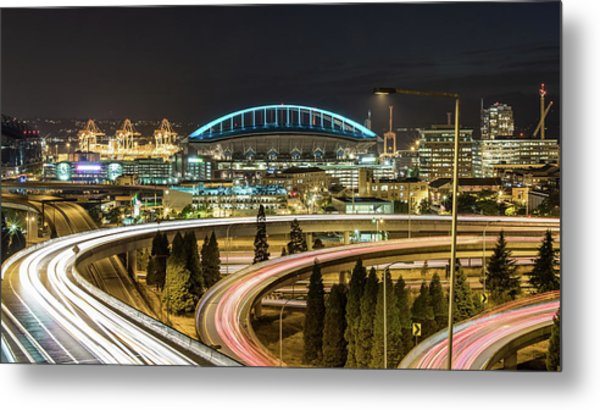 Seattle And Curved Road Light Trails Metal Print by Michael Lee