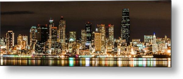 Seattle At Night Metal Print