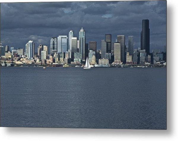 Seattle Cityscape From Alki Beach Metal Print