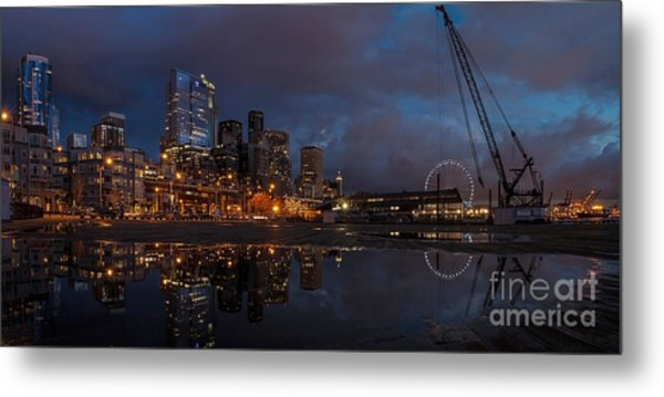 Seattle Night Skyline Metal Print