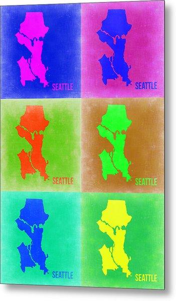 Seattle Pop Art Map 3 Metal Print