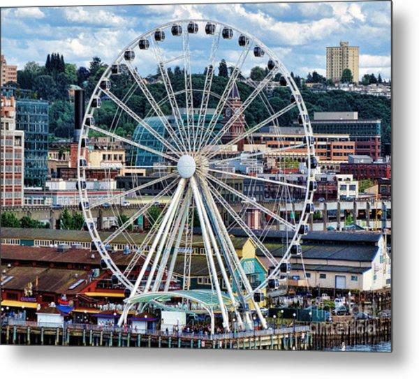 Seattle Port Ferris Wheel Metal Print