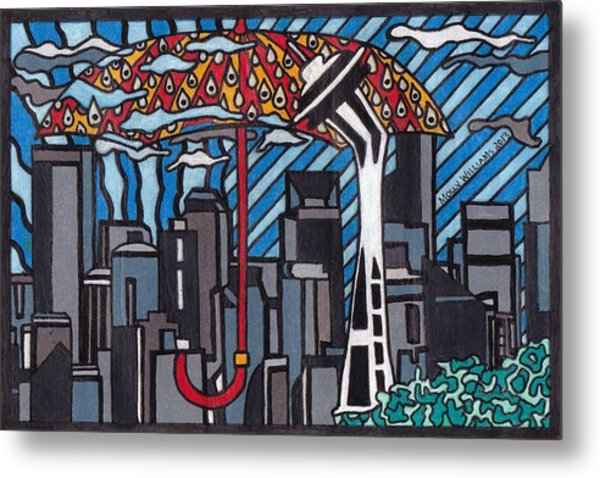 Seattle Rain Metal Print