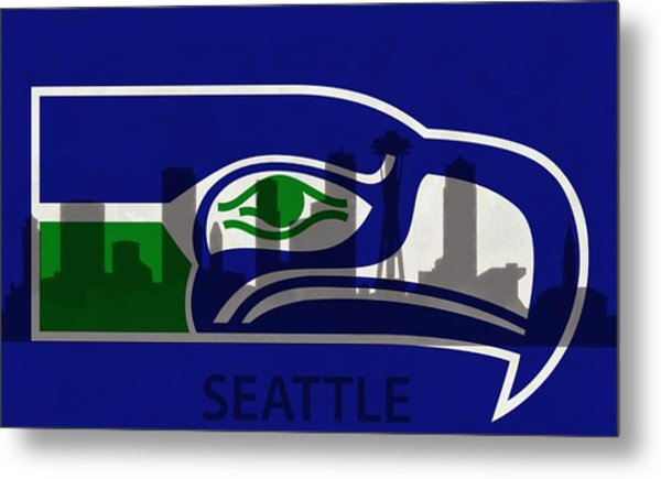 Seattle Seahawks On Seattle Skyline Metal Print