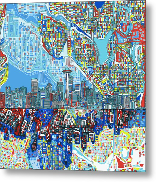 Seattle Skyline Abstract 7 Metal Print