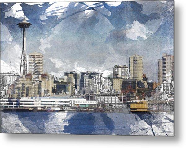 Seattle Skyline Freeform Metal Print