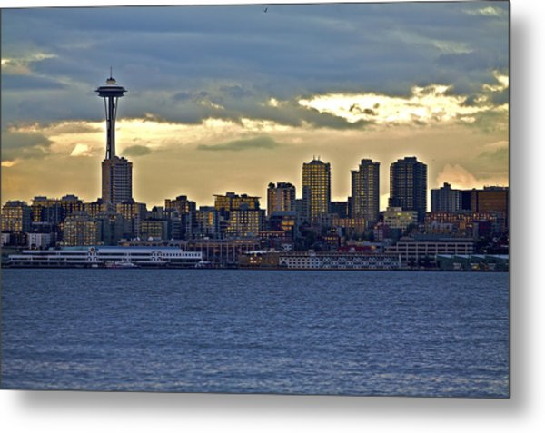 Seattle Skyline In Twilight Metal Print