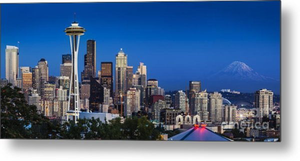 Metal Print featuring the photograph Seattle Skyline Panoramic by Brian Jannsen