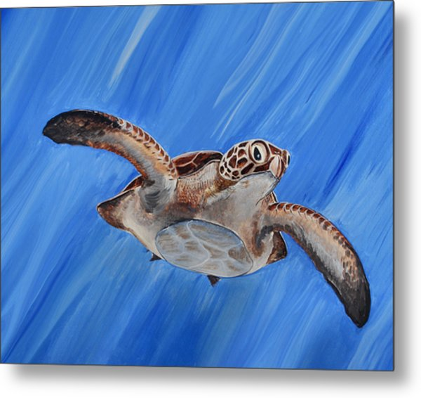 Metal Print featuring the painting Seaturtle by Steve Ozment
