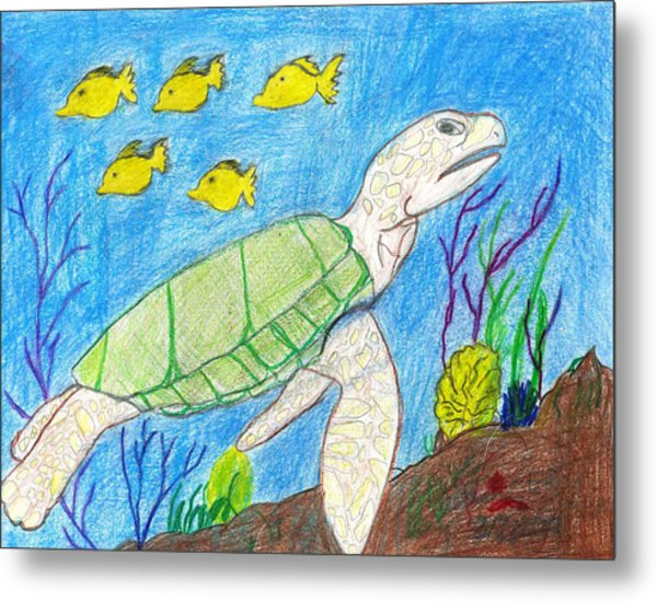 Seaturtle Swimming The Reef Metal Print by Fred Hanna