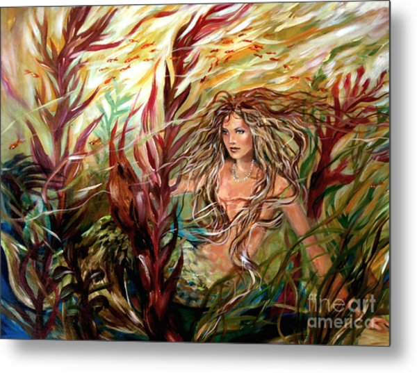 Seaweed Mermaid Metal Print