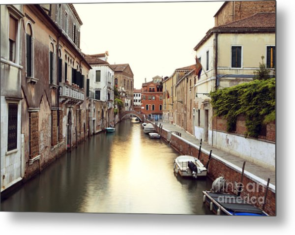 Secluded Canal In Venice Italy Metal Print by Ernst Cerjak