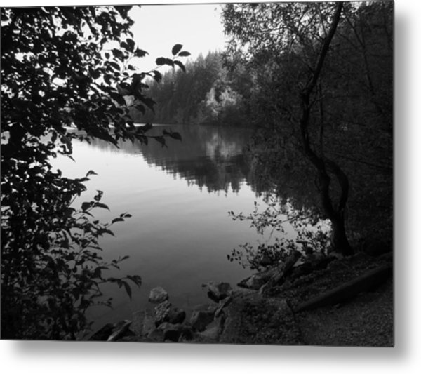 Second Lake Padden Reflection In Black And White  Metal Print