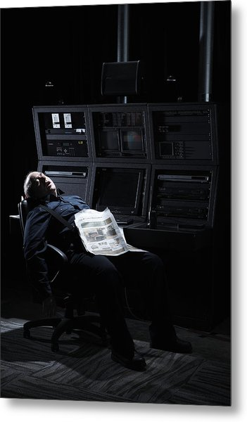 Security Guard Asleep In Office Metal Print by Thomas Northcut